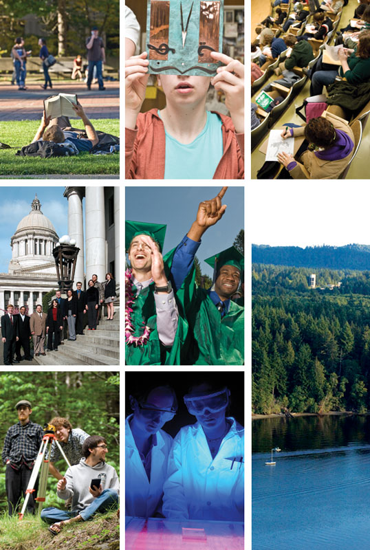 image collage of Evergreen students and campus
